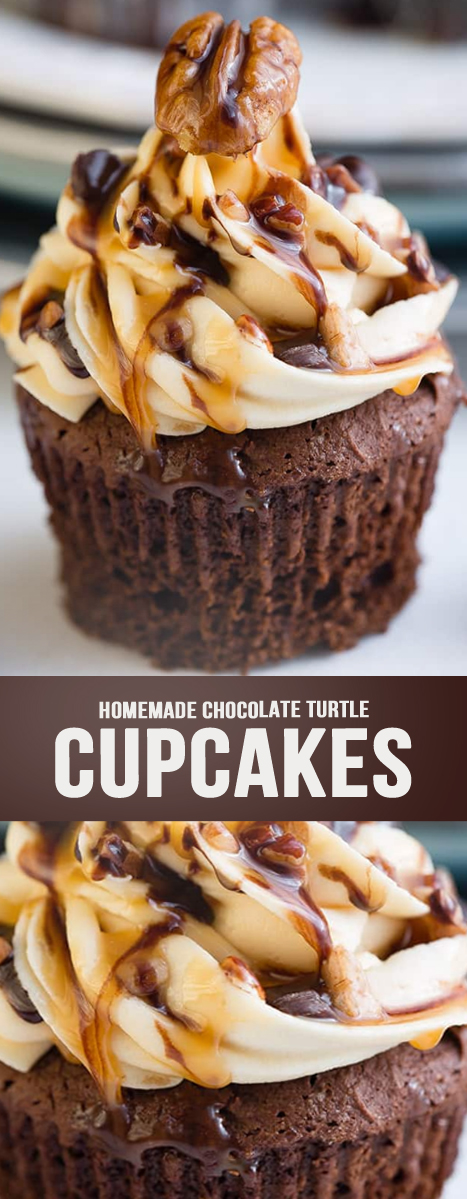 HOMEMADE CHOCOLATE TURTLE CUPCAKES