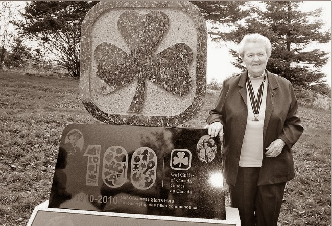Jessie Toope stands by the Girl Guide monument in Bowring Park in this 2010 photo.