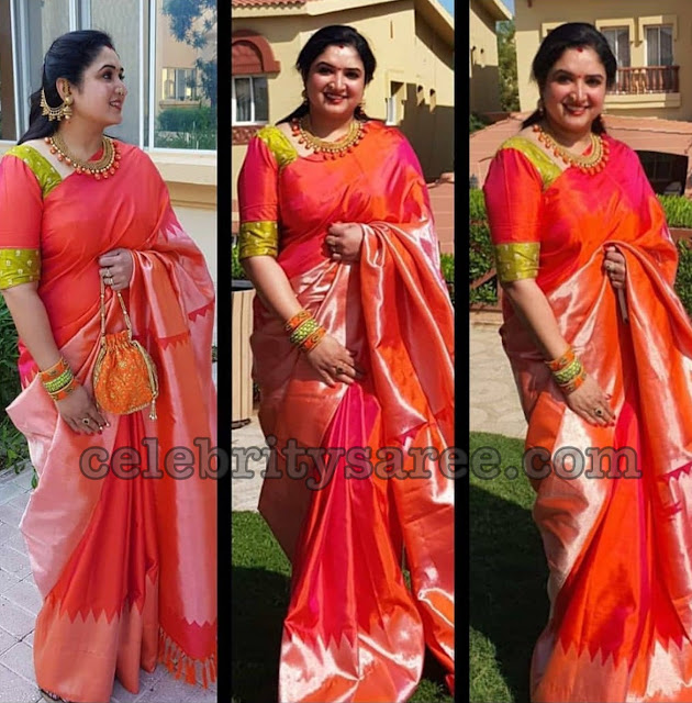 Anitha Vijaykumar in Red Silk Saree