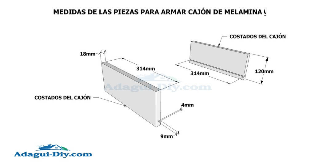 Como hacer muebles de cocina en melamina plano detallado for Planos de bajo mesada de melamina