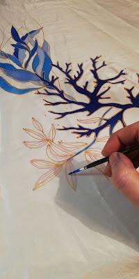 peinture à la gutta dorée