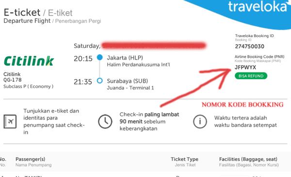 nomor kode booking dalam tiket pesawat