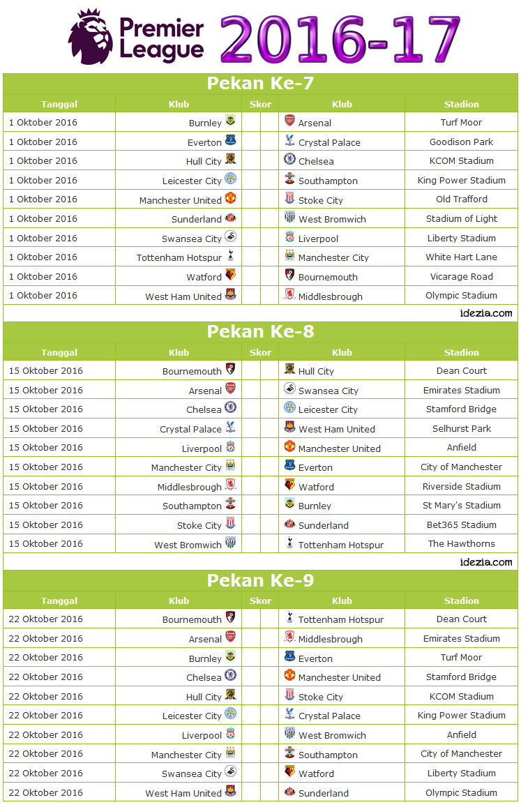 Epl wk fixtures epl match results 2018