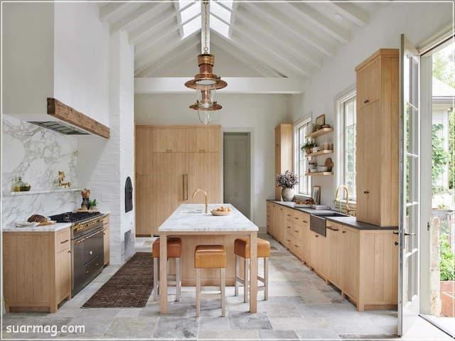 اشكال مطابخ خشب 6   wood kitchens shapes 6