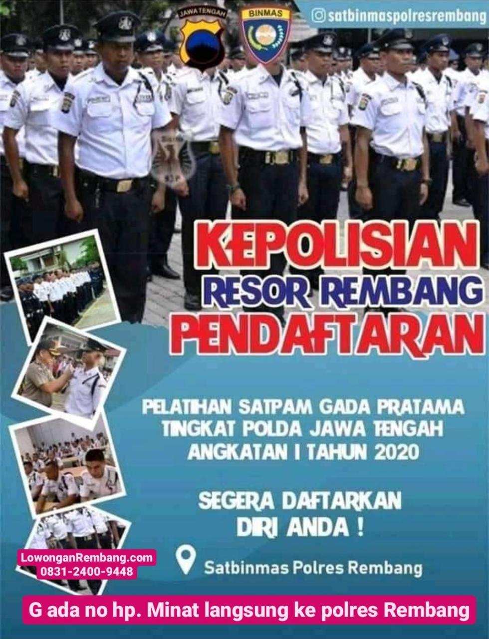 Pendaftaran Pelatihan Satpam Gada Pratama Satbinmas Polres Rembang