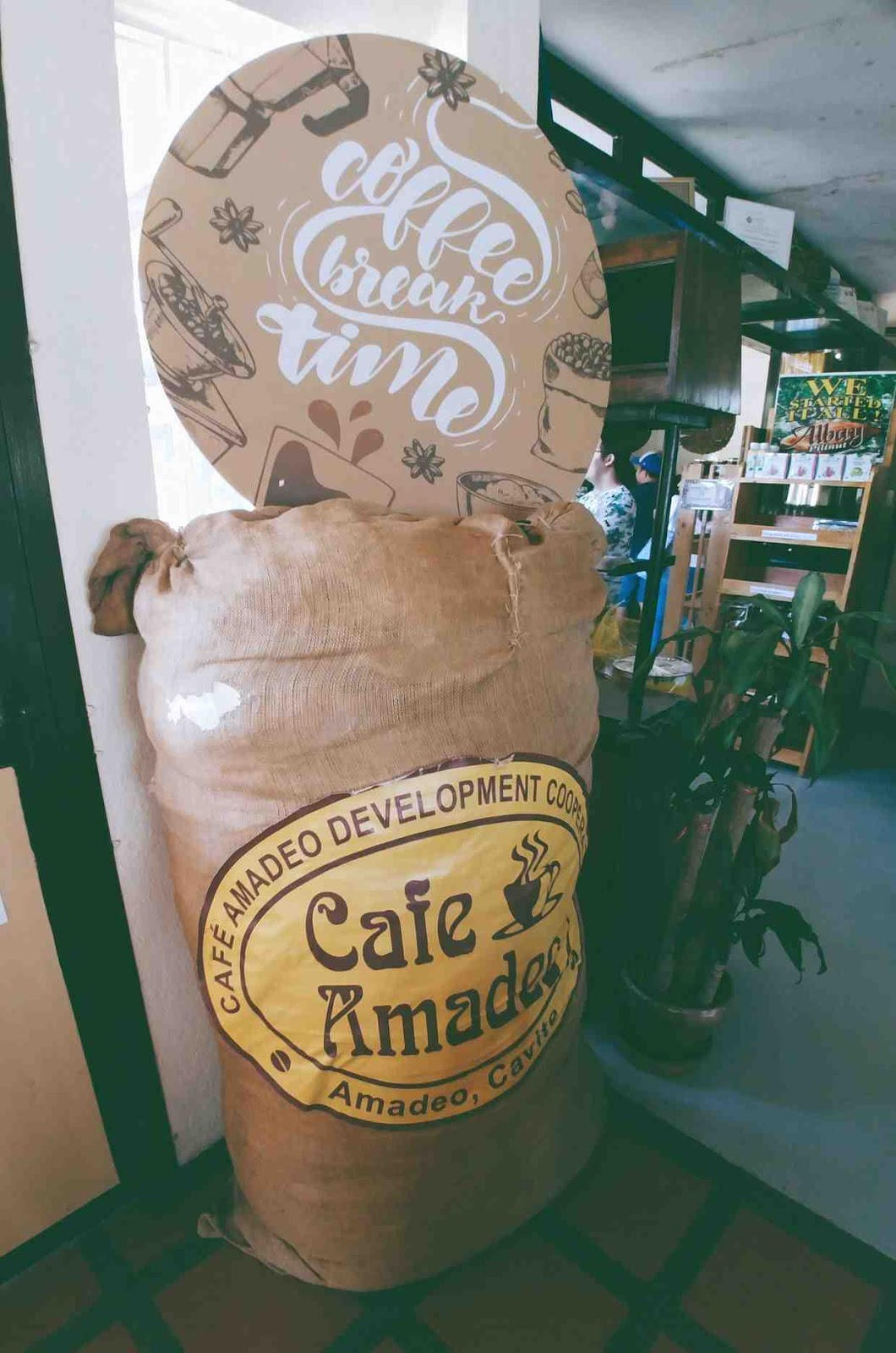 giant sack of coffee beans at Cafe Amadeo