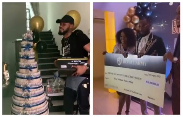 Fans of Big Brother Naija housemate Prince present a N10m cheque to him on his birthday (Video)