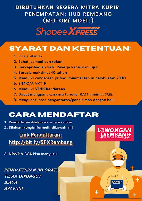 Lowongan Kerja Mitra Kurir Shopee Xpress Rembang