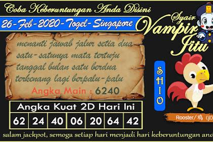 Syair Vampir Jitu Togel SGP Rabu 26 Februari 2020