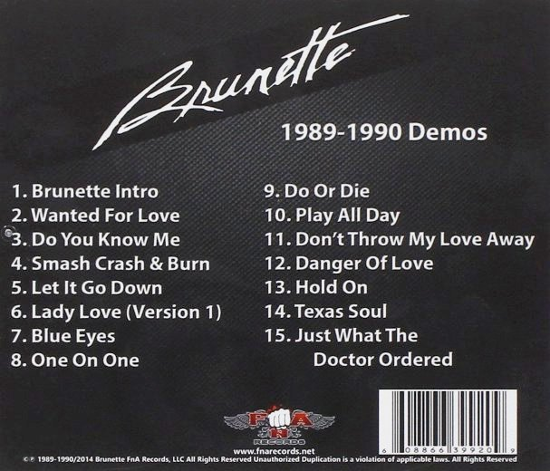 BRUNETTE (pre- Hardline) - 1989-1990 Demos [CD release] back