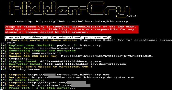 Hidden Cry – Windows Crypter/Decrypter Generator With AES 256 Bits Key