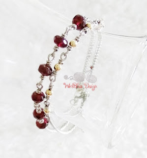 Minlet - minima bracelet with Garnet and gold filled beads