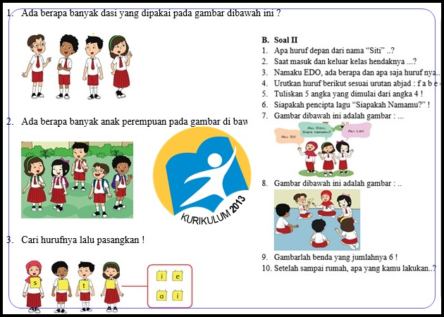 Soal Kurikulum 2013 Revisi Kelas 1 Semester 1 Plus Kunci Jawaban Kabar Guru