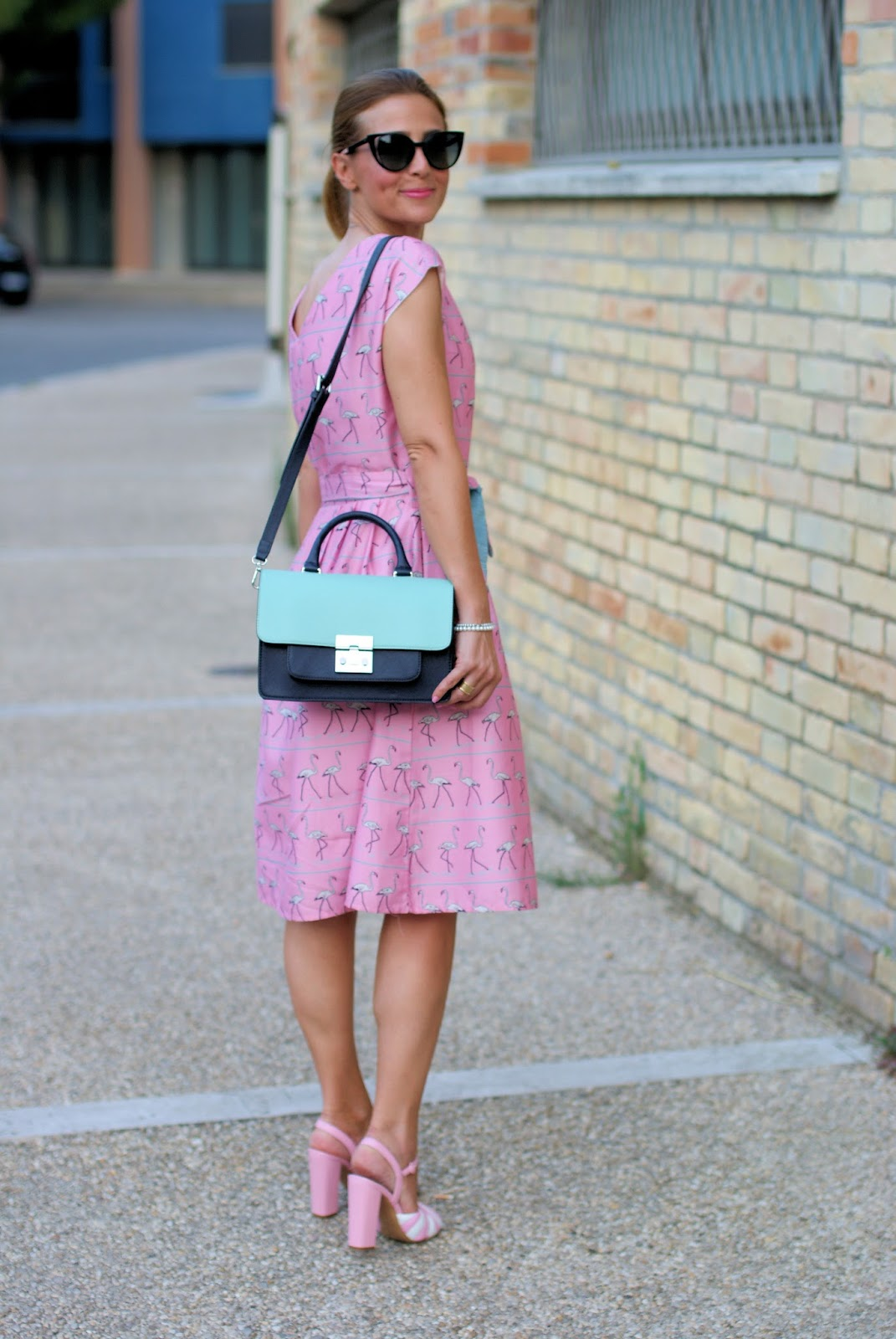 Bryony and Co flamingo dress and Moschino candy sandals on Fashion and Cookies fashion blog, fashion blogger style