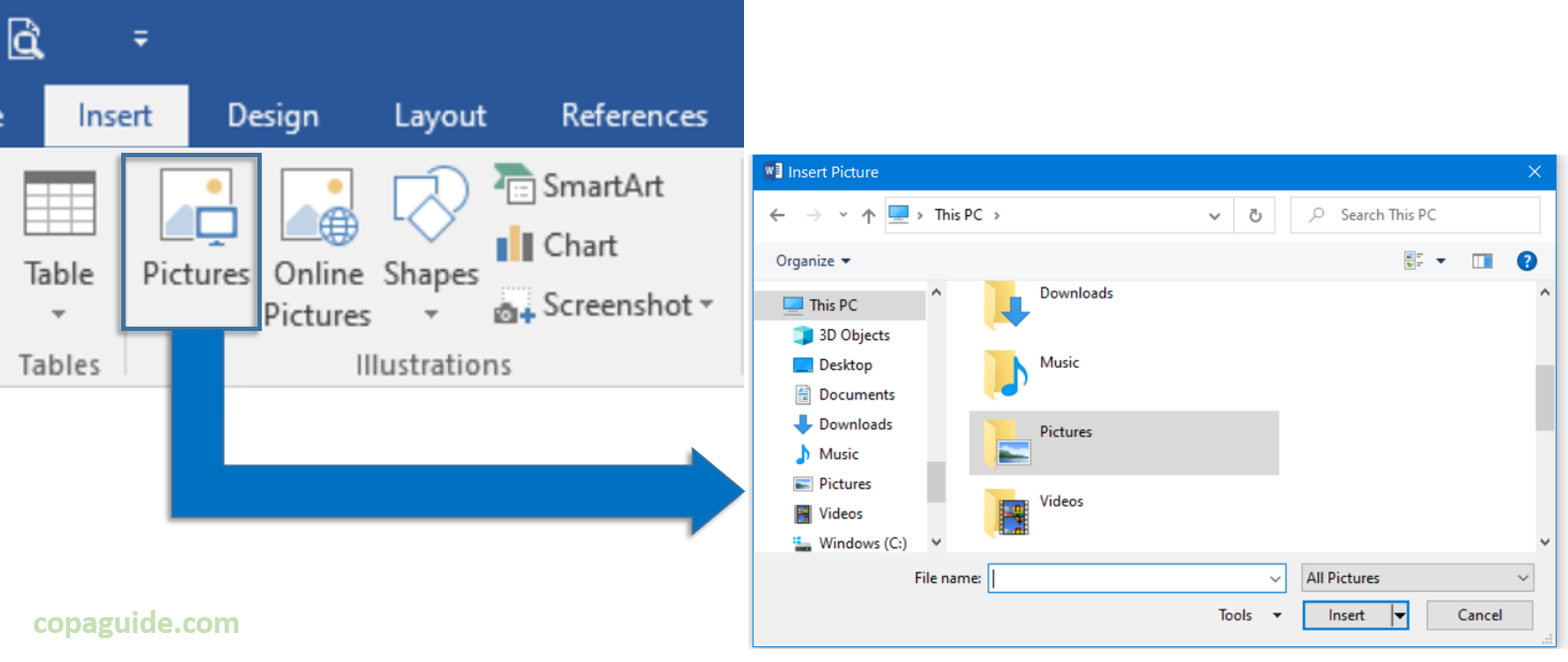 Insert Picture using Dialog Box in Word Hindi Notes