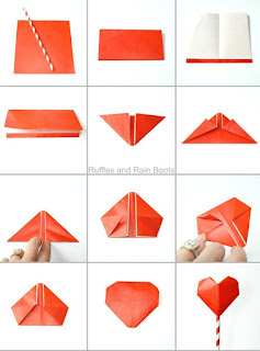 origami heart and paper heart
