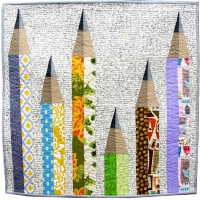 pencil me in mini quilt by monica curry