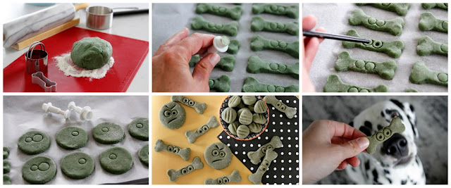 Step-by-step instructions for decorating dog treats to look like monster faces for Halloween