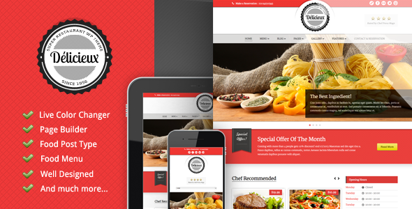 Delicieux - Themeforest Restaurant Wordpress Theme