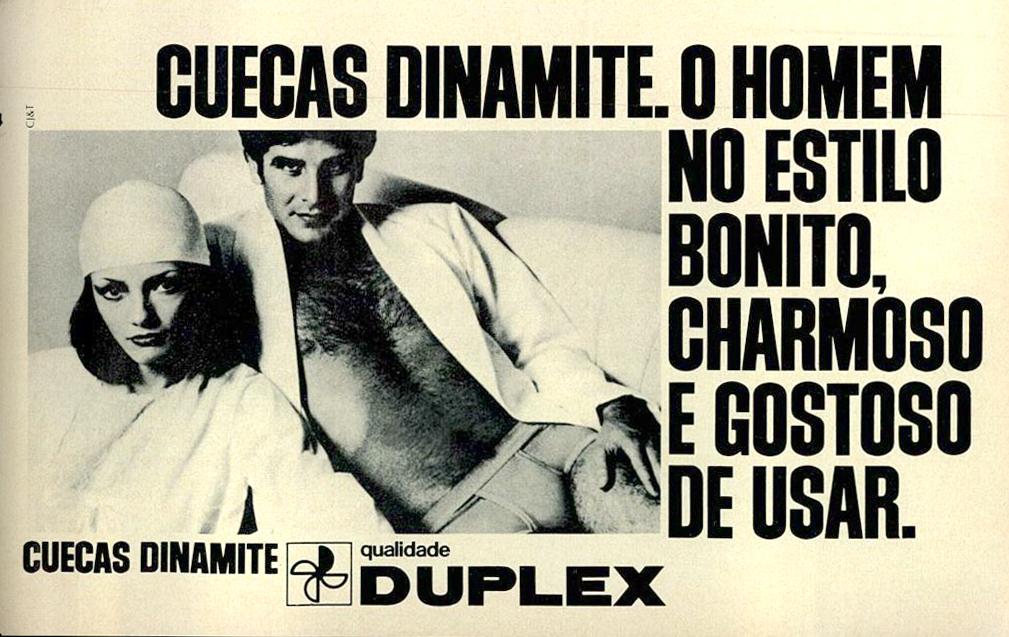 Anúncio antigo veiculado em 1975 promovendo as cuecas Dinamite