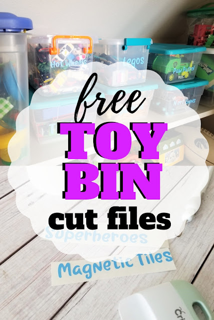 Organize all those toys, games and books with these free toy bin labels you can cut out with your cutting machine.