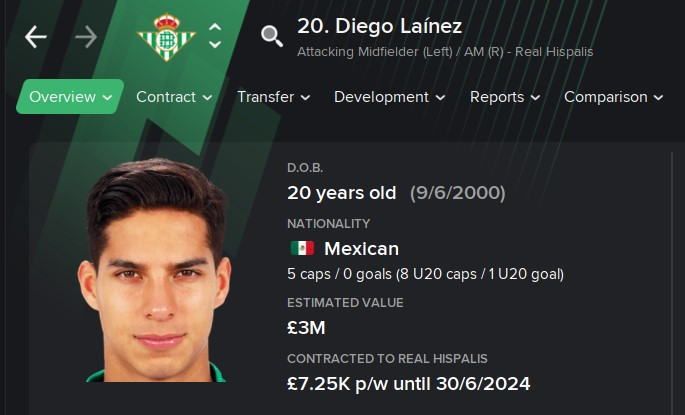 Diego Lainez FM21 Football Manager 2021 Wonderkid