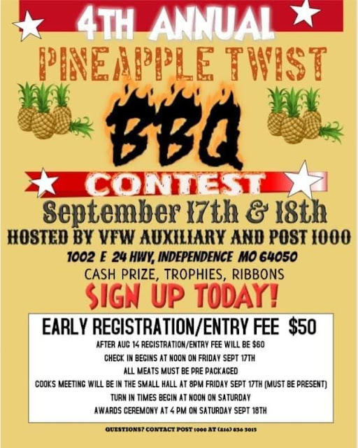 4th Annual Pineapple Twist Barbecue Contest at the VFW Post 1000 Friday and Saturday, September 17 & 18