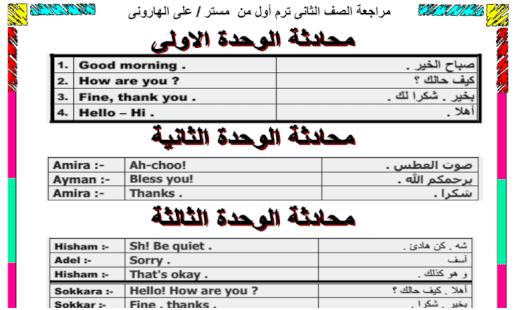 مراجعة نهائية لغة إنجليزية