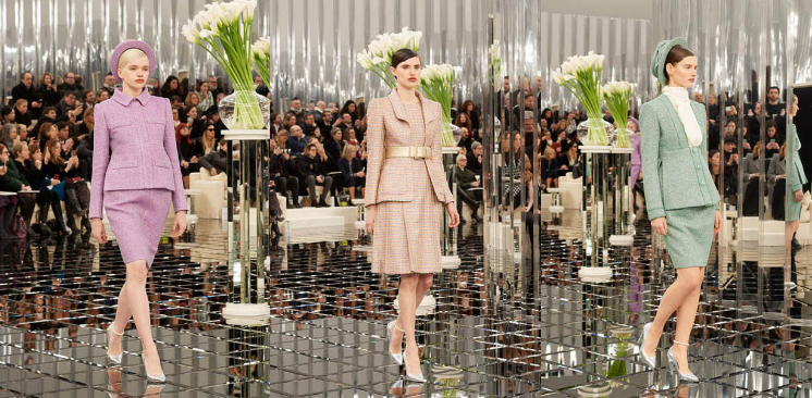 chanel-spring-summer-2017-couture-collection-purple-hat-pencil-skirt-beige-dress-metallic-belt-green-dress-outfit-hat