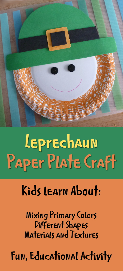 St. Patrick's Day Irish Leprechaun Paper Plate Craft for Young Kids Lots of Learning Involved with ideas on shapes, textures, materials, measuring and more