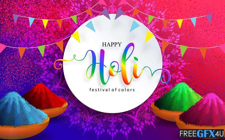 Happy Holi 2021 Festival Colorful Gulaal Card