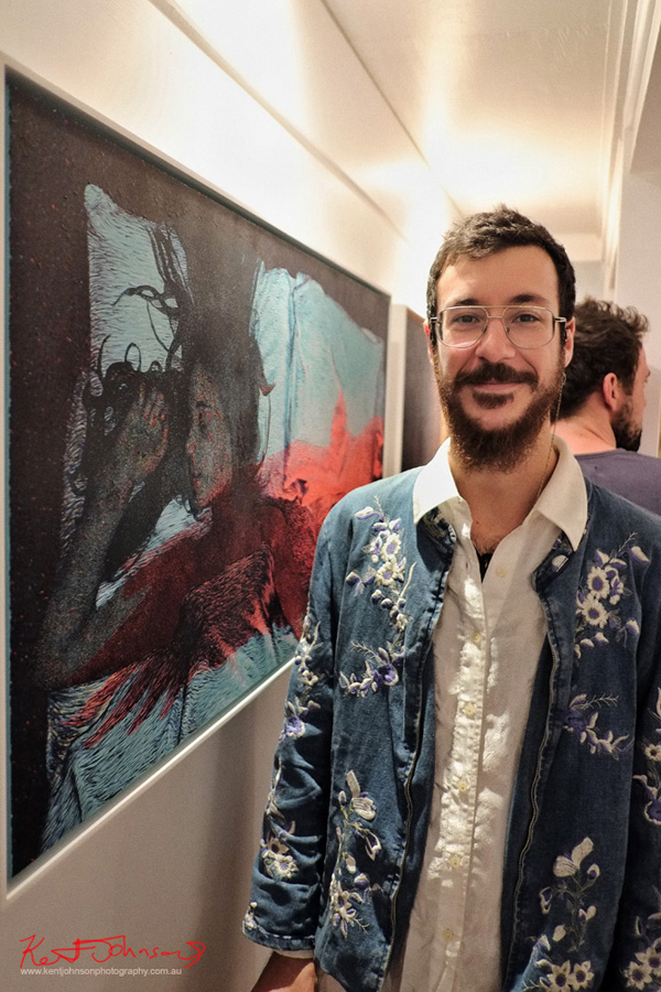 Artist Tom Ferson at the grand opening of The New Standard Gallery. Photo by Kent Johnson for Street Fashion Sydney.