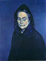 Pablo Picasso's Celestina, 1904, in Blue Period of Picasso. Monochromatic painting depicts a blind old woman in blue tones.