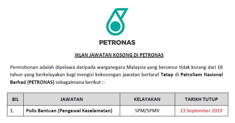 Jawatan Kosong Di Petronas Polis Bantuan Jawatan Kosong Kerajaan Swasta Terkini Malaysia 2020 2021