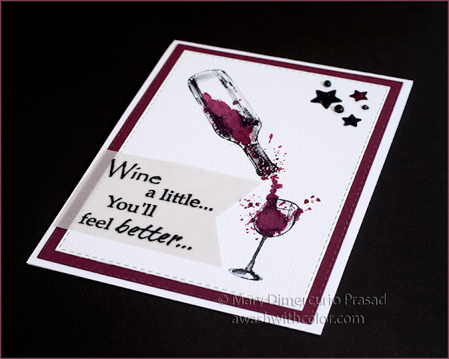 Rubbernecker Stamps, CAS Card, Wine a Little