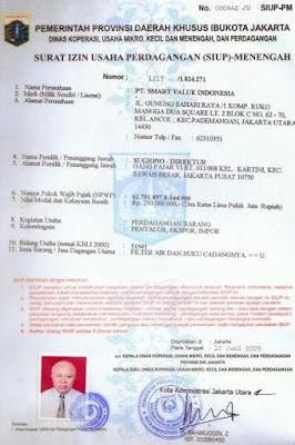 Contoh Surat Izin Perdagangan ( SIUP) Mikro, Kecil Menengah dan Besar