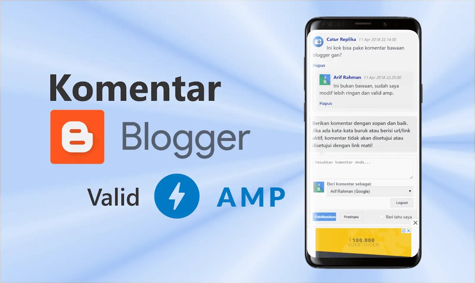Cara Memasang Komentar Bawaan Blogger Amp