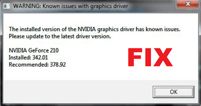 Known issue with graphics driver