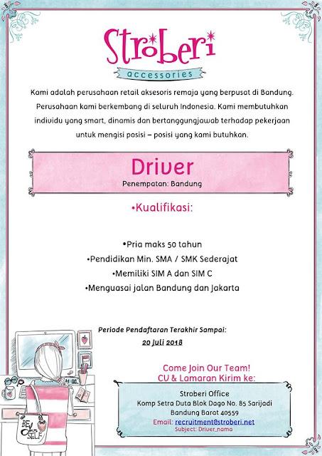 Lowongan Kerja Driver Stroberi Accessories Bandung