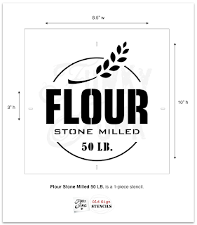 Flour Stone Milled Stencil - Funky Junk's Old Sign Stencils