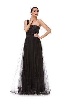 Rochie lungă neagră de gală din tulle
