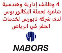 4 وظائف إدارية وهندسية شاغرة لحملة البكالوريوس لدى شركة نابورس لخدمات الحفر في الرياض تعلن شركة نابورس لخدمات الحفر, عن توفر 4 وظائف إدارية وهندسية شاغرة لحملة البكالوريوس, للعمل لديها في الرياض وذلك للوظائف التالية: 1- محاسب (Accountant): المؤهل العلمي: بكالوريوس في المحاسبة، المالية أو ما يعادله الخبرة: سنتان على الأقل من العمل في المحاسبة أو المالية أن يجيد اللغة الإنجليزية للتـقـدم إلى الوظـيـفـة اضـغـط عـلـى الـرابـط هـنـا 2- شريك أعمال الموارد البشرية (HR Business Partner): المؤهل العلمي: بكالوريوس في الموارد البشرية أو مجال ذي صلة الخبرة: أربع سنوات على الأقل من العمل في المجال للتـقـدم إلى الوظـيـفـة اضـغـط عـلـى الـرابـط هـنـا 3- مهندس عمليات (Operations Engineer): المؤهل العلمي: بكالوريوس في الهندسة أو مجال ذي صلة الخبرة: سنتان من العمل في المجال, أو بدون خبرة للتـقـدم إلى الوظـيـفـة اضـغـط عـلـى الـرابـط هـنـا 4- أخصائي اتصالات وعلاقات عامة (Communications and Public Relations Specialist): المؤهل العلمي: بكالوريوس في الاتصالات، العلاقات العامة، الموارد البشرية، إدارة الأعمال، التصميم الجرافيكي الخبرة: سنتان من العمل في المجال, أو بدون خبرة أن يجيد اللغة الإنجليزية للتـقـدم إلى الوظـيـفـة اضـغـط عـلـى الـرابـط هـنـا       اشترك الآن في قناتنا على تليجرام        شاهد أيضاً: وظائف شاغرة للعمل عن بعد في السعودية       شاهد أيضاً وظائف الرياض   وظائف جدة    وظائف الدمام      وظائف شركات    وظائف إدارية                           لمشاهدة المزيد من الوظائف قم بالعودة إلى الصفحة الرئيسية قم أيضاً بالاطّلاع على المزيد من الوظائف مهندسين وتقنيين   محاسبة وإدارة أعمال وتسويق   التعليم والبرامج التعليمية   كافة التخصصات الطبية   محامون وقضاة ومستشارون قانونيون   مبرمجو كمبيوتر وجرافيك ورسامون   موظفين وإداريين   فنيي حرف وعمال     شاهد يومياً عبر موقعنا نتائج الوظائف مدير مشتريات مطلوب مترجم وظائف حراس أمن بدون تأمينات الراتب 3600 ريال وظائف مترجمين العربية للعود توظيف وظائف العربية للعود العربية للعود وظائف محاسب يبحث عن عمل مطلوب محامي وظائف عبدالصمد القرشي مطلوب مساح البنك السعودي للاستثمار توظيف وظائف حراس امن بدون تأمينات الراتب 3600 ريال مطلوب مهندس معماري صندوق