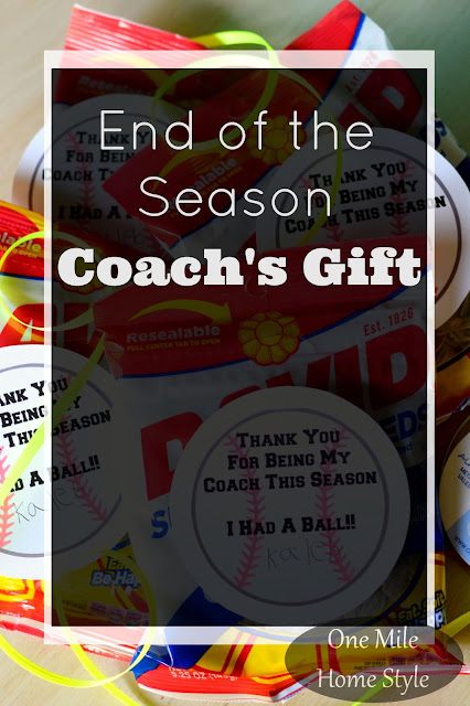 End of the Baseball Season Coach's Gift with Printable Gift Tag- One Mile Home Style