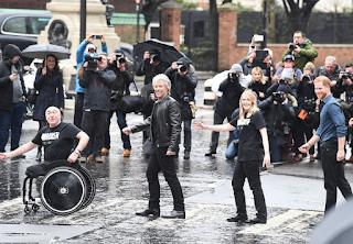 Harry and Jon Bon Jovi recreate Abbey Road album cover photo