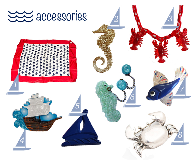 Nautical themed vintage style accessories