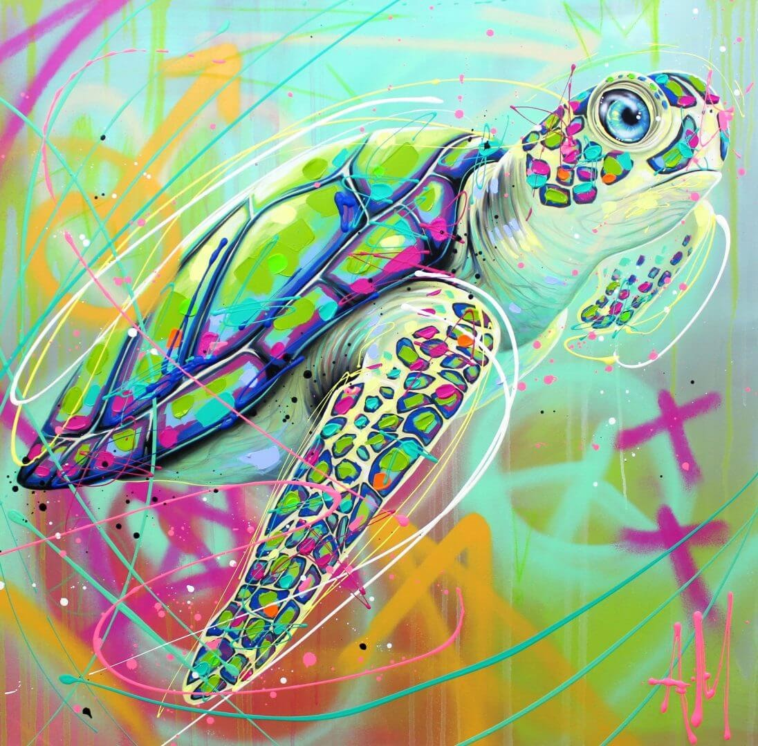 10-Sea-Turtle-Andrea-Marqui-Bright-Paintings-of-Animal-Portraits-www-designstack-co