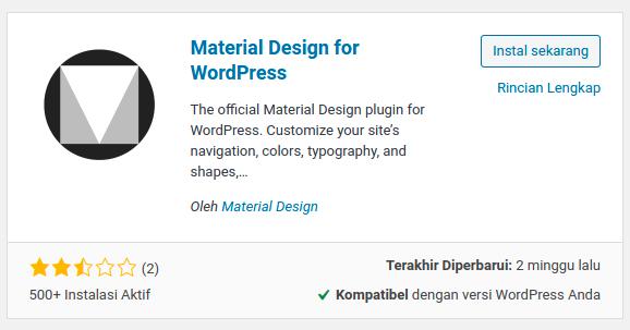 Tampilan plugin Material Design for WordPress di laman pencarian plugin