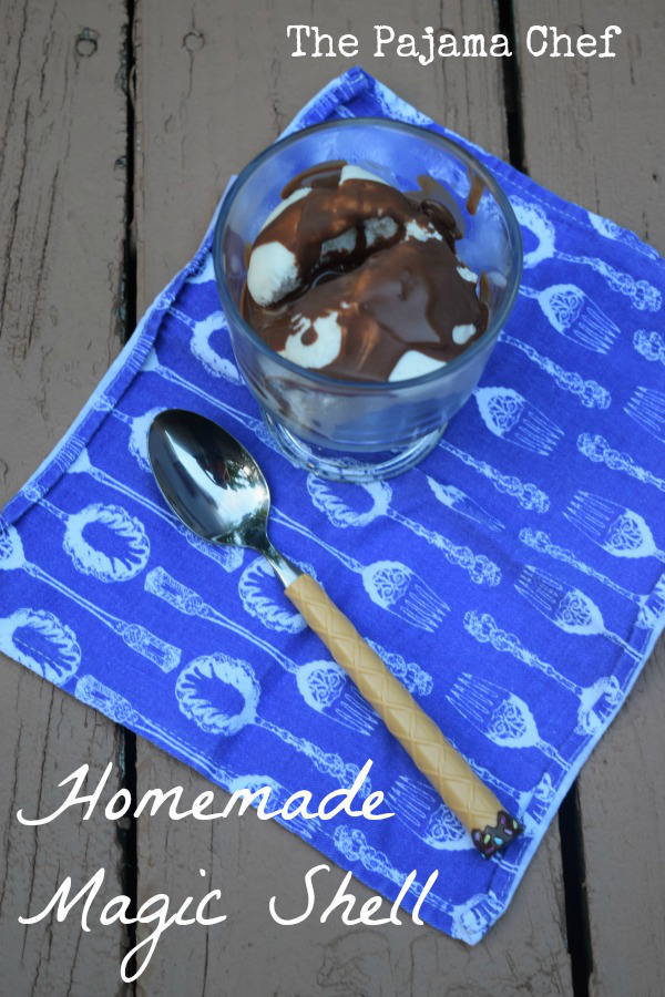 Featured Recipe // Homemade Magic Shell from The Pajama Chef #chocolate #icecream #magicshell #recipe #SecretRecipeClub