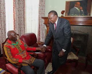 President Kenyatta Paid a courtesy call on Former President Daniel Arap Moi at his Kabarnet Gardens residence in Nairobi. PHOTO | courtesy PSCU