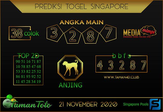 Prediksi Togel SINGAPORE TAMAN TOTO 21 NOVEMBER 2020
